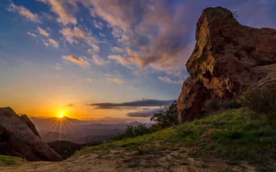 закат, красивые, рассвет, landscape, высоком, ultra, горы, холмы,