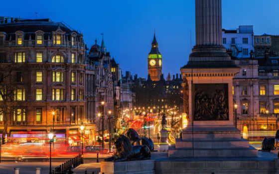 площадь, трафальгарская, london, ночь, огни, город, великобритания, дорога, здания,
