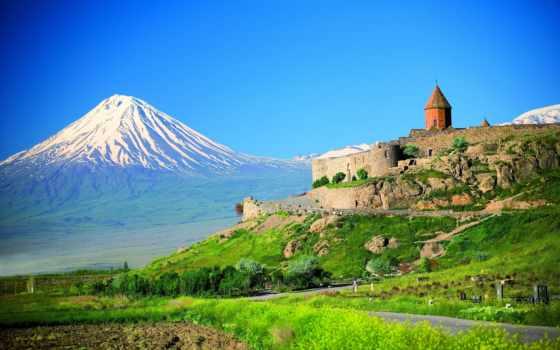 арарат, вирап, армении, гора, хор, гору, горы, обитель, турции, армянской,