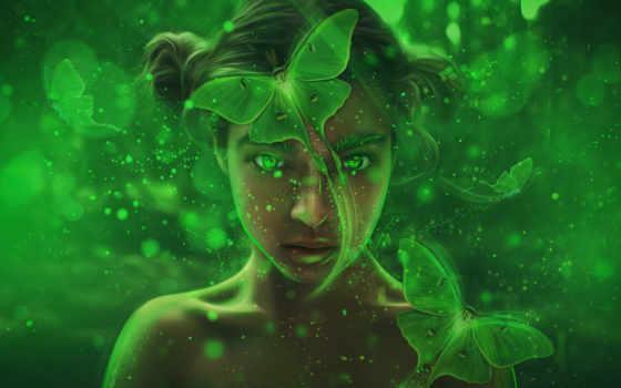 фея, fantasy, art, девушка, лес, магия, зелёный,