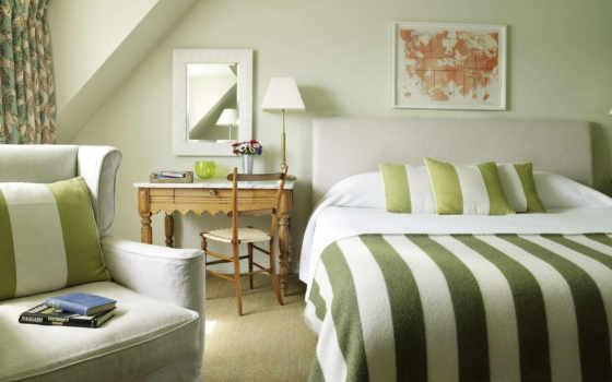 ,спальня, тонах, спальни, занавески, зелёный, стены,, тонов,