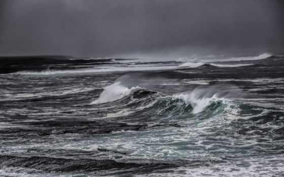 waves, море, буря