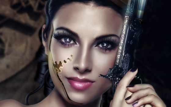 cyborg, девушка, art, лицо, revolver, свет, взгляд, оружие, волосы,