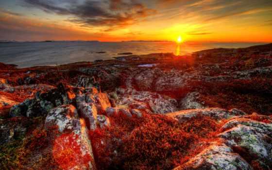закат, норвегия, река, landscape, растительность, скалы, rocks, восход,
