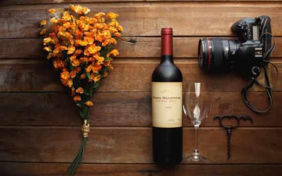 фотоаппарат, cvety, натюрморт, бутылка, glass, вино, штопор,