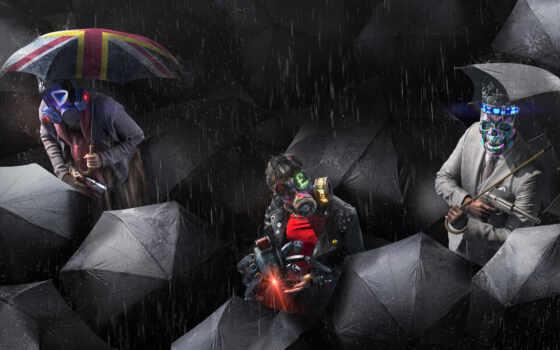 watch, собака, legion, мужчина, дождь, маска, под, game