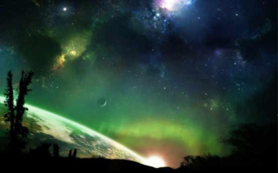 space, fantasy, earth, stars, aurora, планета, звезды, вселенная, desktop, borealis,