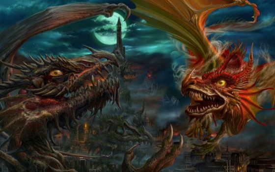 драконы, луна, город, замок, ночь, картинку, uchio, арт, башня, fantasy, ucchiey, kazamasa, кнопкой, правой, мыши,