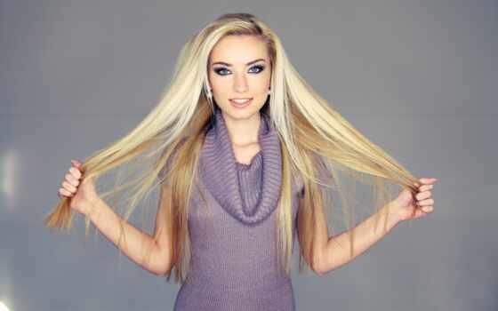 волосы, девушка, blonde, взгляд, картинка, волос, sweater, руки,