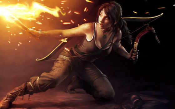 raider, tomb, огонь