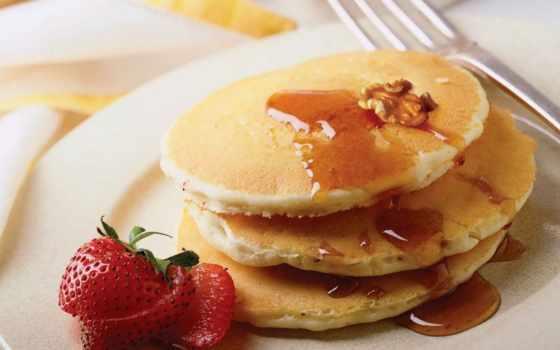 завтрак, блинчики, ресторане, орех, клубника, соус, country, завтраки,