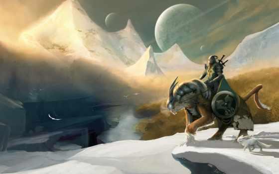 рыцарь, снег, winter, armour, горы, art, меч, воин, щит, всадник, оружие,