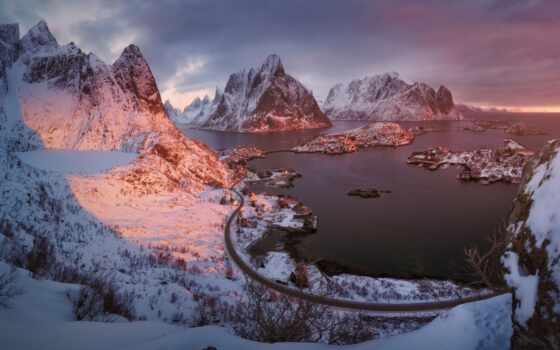 норвегия, geirangerfjord, взгляд, библиотека, побережье, aerial, town, alamy, закат, гора