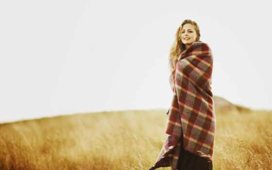 девушка, плед, ukutat, stand, одеяло, поле, осень, фон, картинка