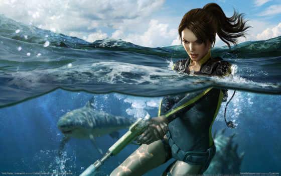 tomb, raider, подводная, охота, игры, trong, underworld,