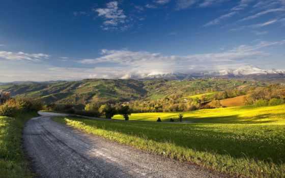 дорога, summer, фотообои, вдаль, landscape, горы, небо, природа, путь,