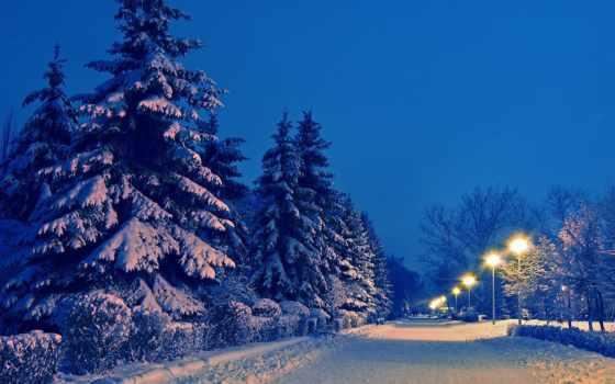 winter, park, снег, landscape, вечер, зимние, фонари, new, eli, год,