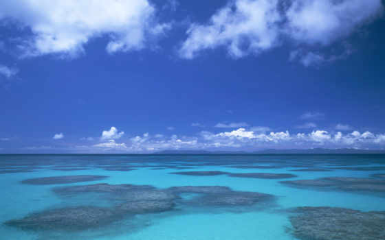 море, небо, фотографиях, blue, ocean, окинава, океана, панорама,