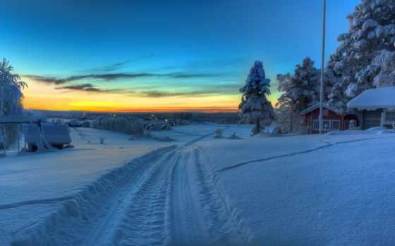 winter, дорога, снег, страница, деревне, зимняя, oblaka, desktop,