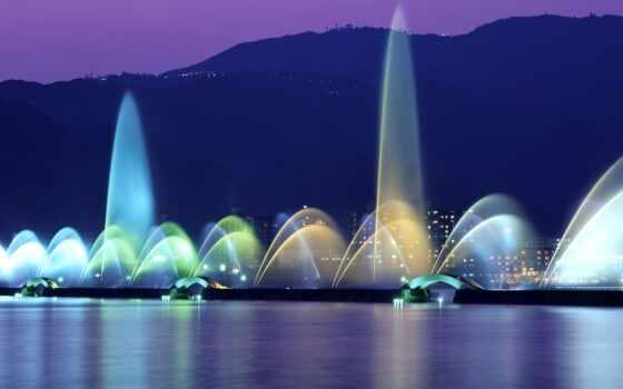 fountain, озеро, discover, copyright, добавить, wallpapertip, огонь, top, shirokoformatnyi, ponii