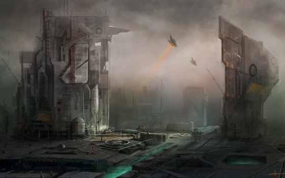 город, art, корабли