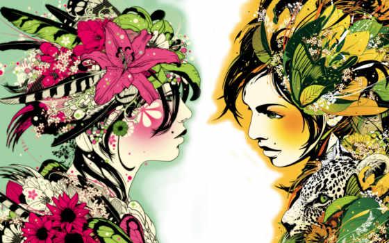 ярко, красиво, color, цветы, anime, нарисованны, девушки, blonde, девушка,