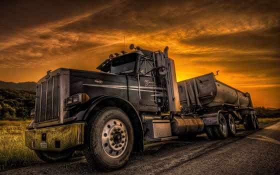 дорога, закат, truck, peterbilt, трактор, картинка, her, установить,