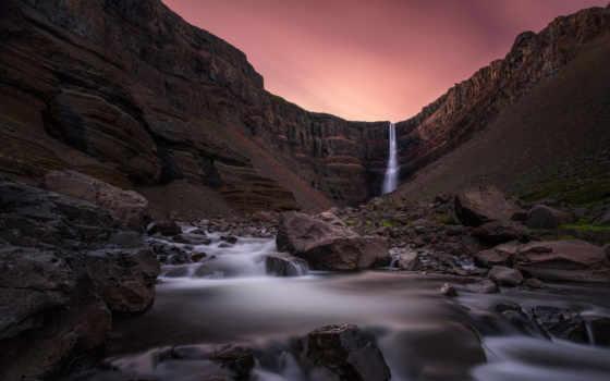 водопад, hengifoss, iceland,