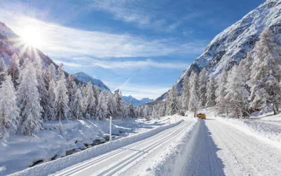 дорога, winter, снег, машины, сопки, sun, елки, природа,