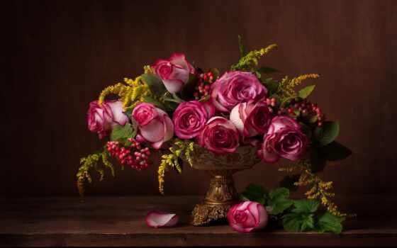 роза, натюрморт, цветы, букет, permission, розовый, цвета, книга, фотообои, плод