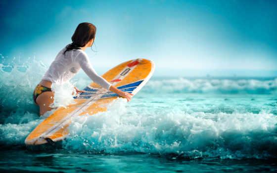 спорт, девушка, море