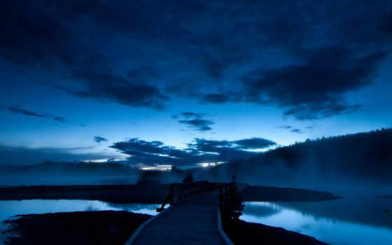 небо, ночь, мост