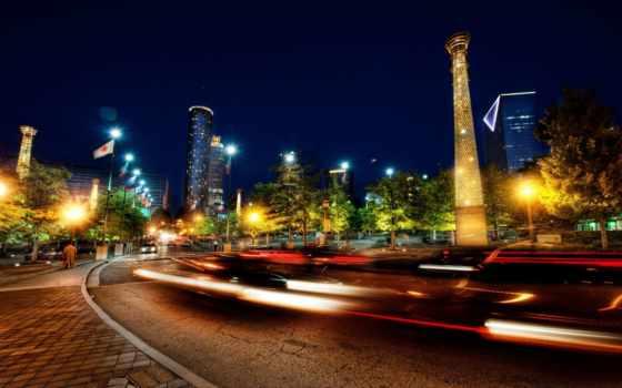 огни, дорога, города, город, дома, зи, машины, atlanta, ночь,