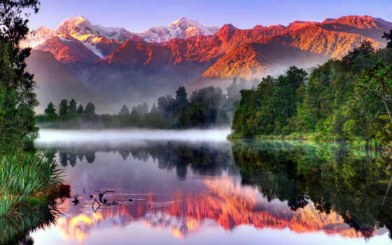 горы, утро, туман