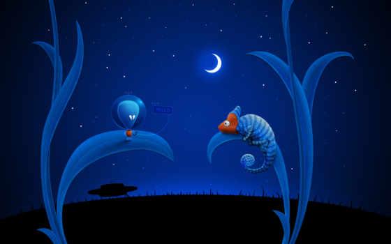 chameleon, alien, луна, ufo, blue,