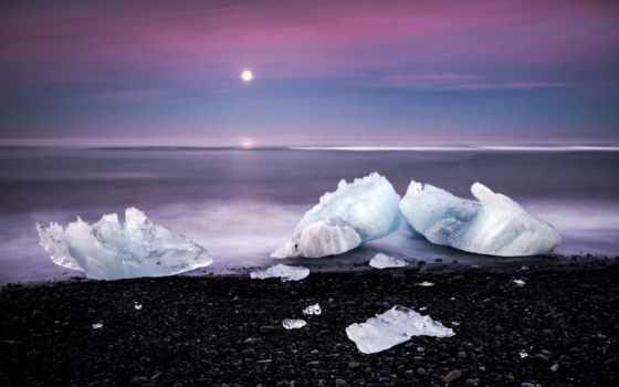 море, лед, закат, камни, льдины, глыбы,