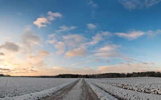winter, небо, life, поле,