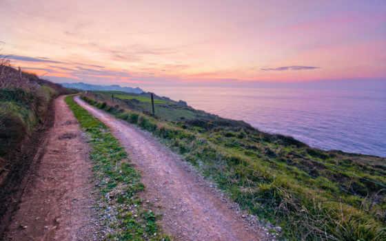 испания, море, дорога, тропинка, трава, побережье, вечер, пейзажи -,
