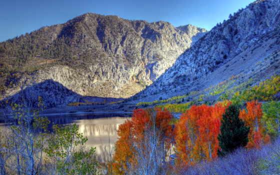 montagnes, fonds, automne, природа, ecran, sierra, fond, les, paysage, eastern,