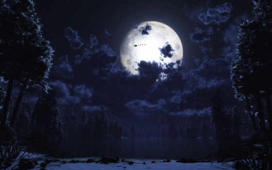 лес, луна, ночь, санта, природа,