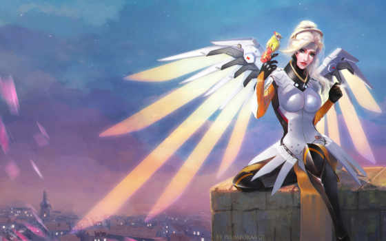 overwatch, mercy, artwork, blizzard, games, art, entertainment, desktop,