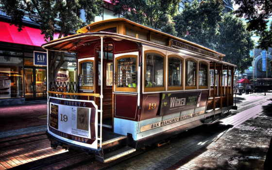 трамвай, sana, francisco, город, символ, города, техника, ретро,