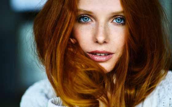 девушка, рыжая, глаз, голубых, свет, глазами, голубыми, макияж, дневной, рыжеволосая, волосы,