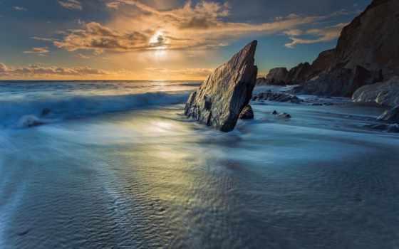 море, ocean, закат, свет, landscape, картинка, bay, небо, солнечный, скалы,