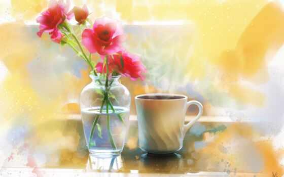 cvety, ваза, color, glass, букет, роза, поле, который, натюрморт, red, живопись