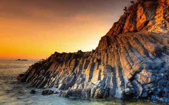 ,, coastal and oceanic landforms, скалы, океан, коренная порода, закат, янтарь, жидкость, сумерки, побережье, восход солнца, утес, море, берег, стек, залив