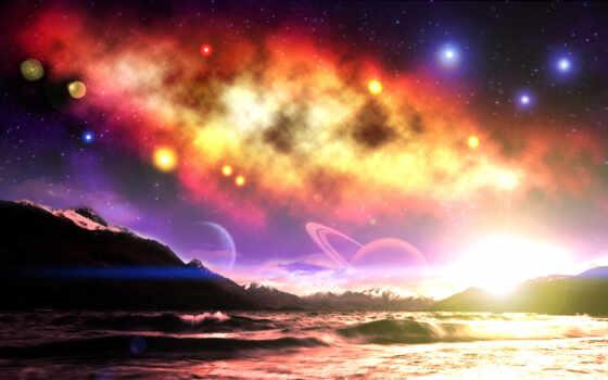 звезды, космос, galaxy, планеты, небо, фантастика, горы, world, cool, art,