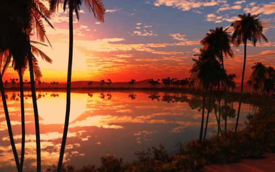 закат, природа, озеро