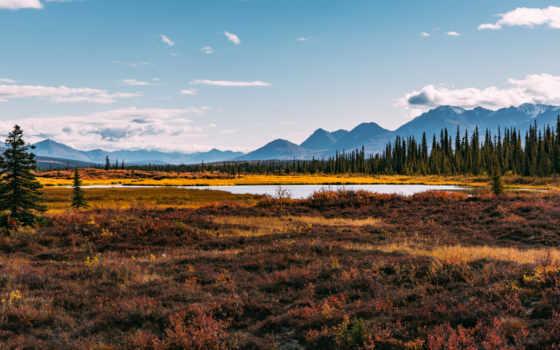 , равнина, озеро, лес, горы,