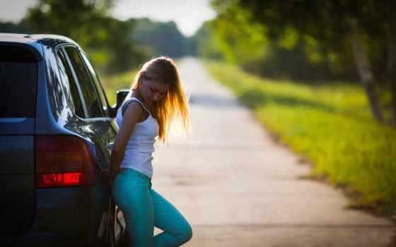 дорога, девушка, car